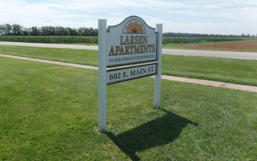 Sign outside of Mount Hope Nursing Center where Larson Apartments provide independent living options for seniors