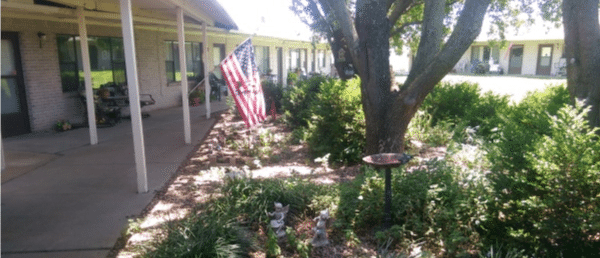 Flower beds outside the independent living apartments at Mt Hope Nursing Center