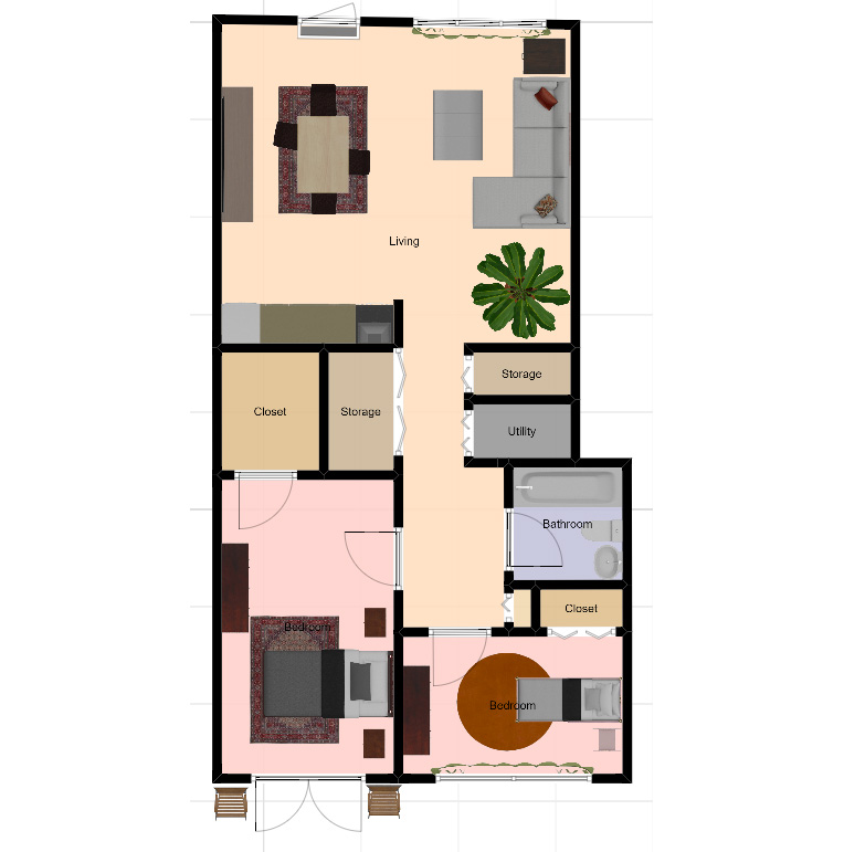 two bed 2D top view - Independent Living