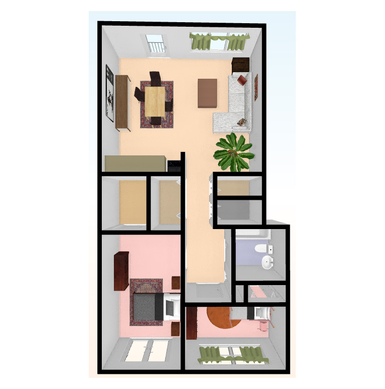two bed 3D top view - Independent Living