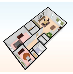two bed 3D top view 2 297x300 - Independent Living