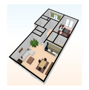 two bed 3D top view 3 297x300 - Independent Living