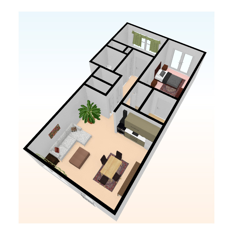 two bed 3D top view 3 - Independent Living