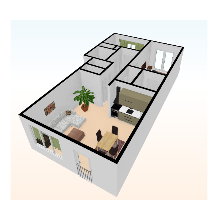two bed 3D top view 4 - Independent Living