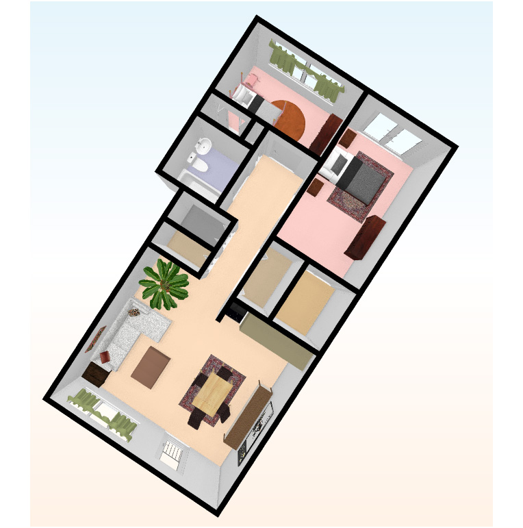 two bed 3D top view 5 - Independent Living
