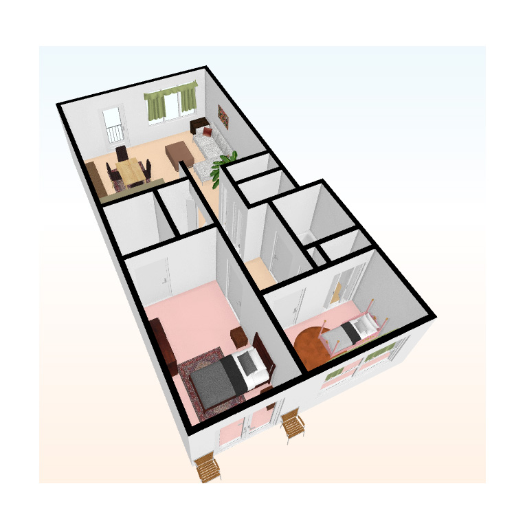 two bed 3D top view 6 - Independent Living