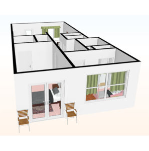 rendering of 2 bedroom apartment