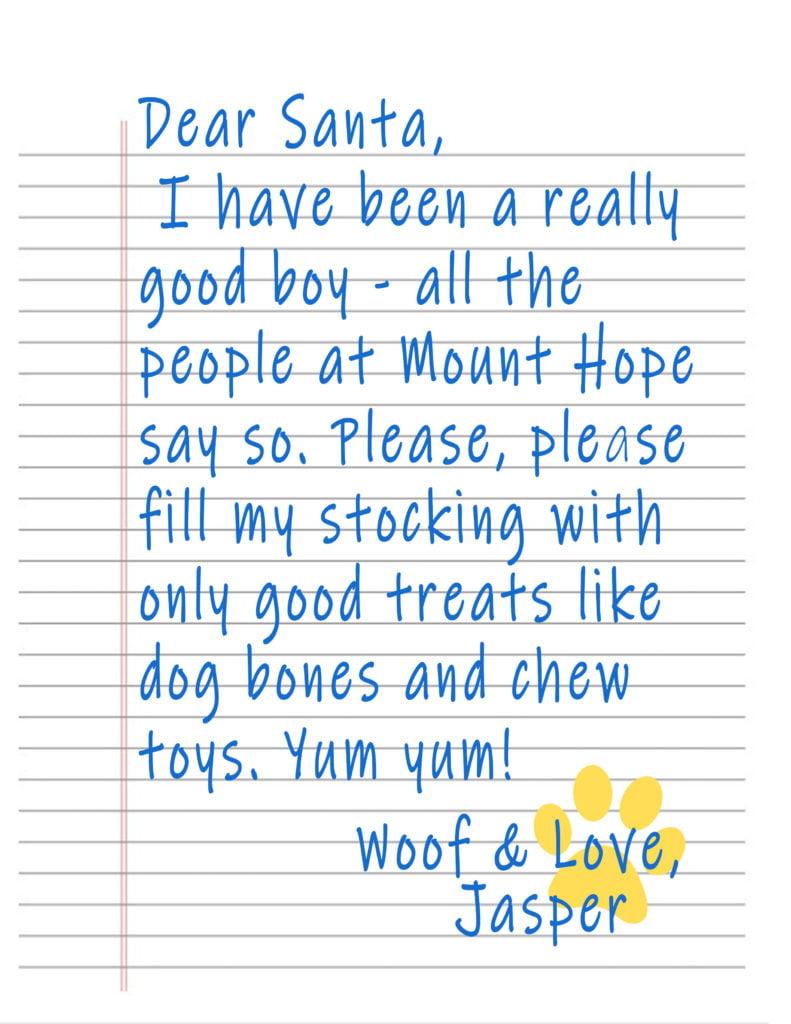 Jasper Santa Letter 791x1024 - Woof and Happy Holidays, everyone!
