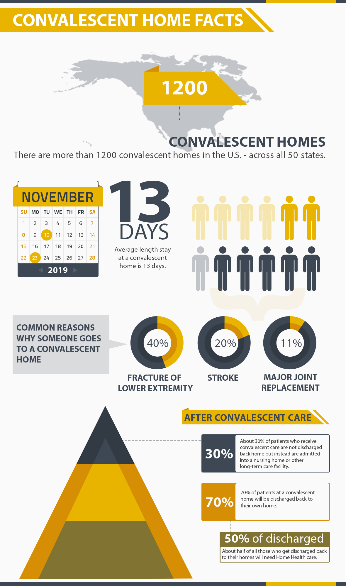 Infographic on stats of convalescent homes in the United States