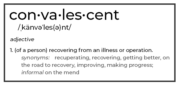 Graphic image with the definition to explain what is a convalescent home