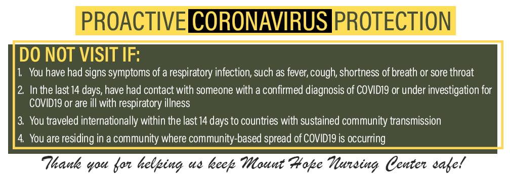 Coronavirus COVID 19 visitors precaution for nursing home