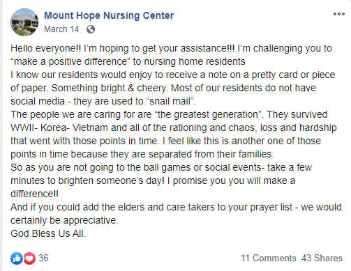 Image of Facebook post made by Mount Hope Nursing Center asking people to send letters and cards to nursing home residents