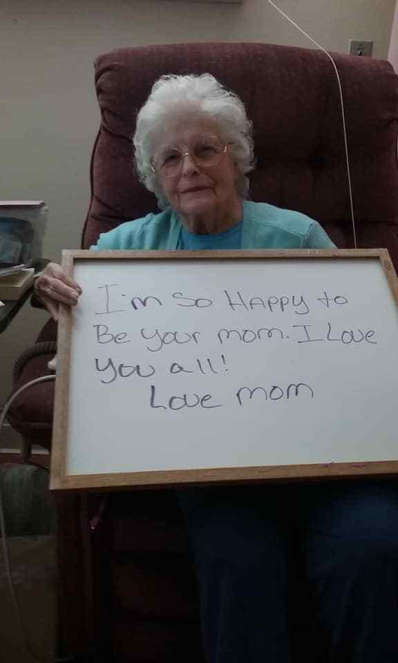 Mount Hope nursing home resident showing a Mother's Day message shared on Facebook