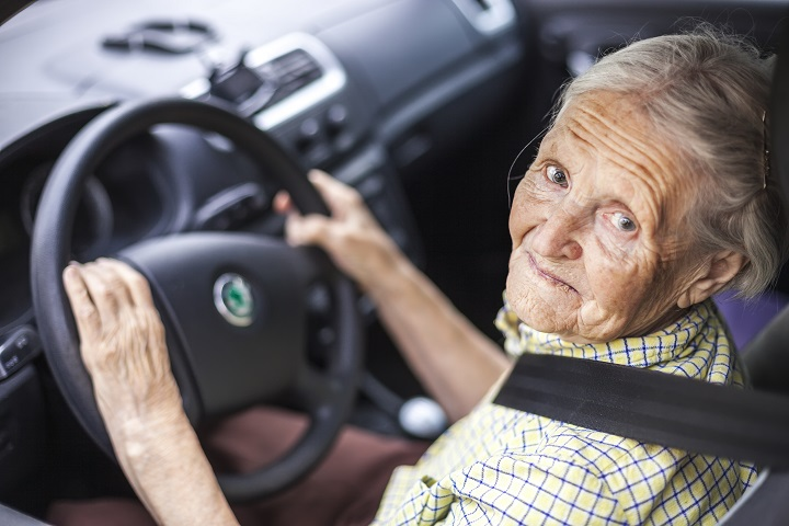 Older woman driving
