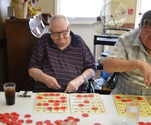 Nursing home residents at Mt Hope Nursing Center playing Bingo
