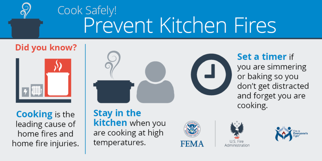 Cook Safely: Prevent Kitchen Fires FEMA infographic